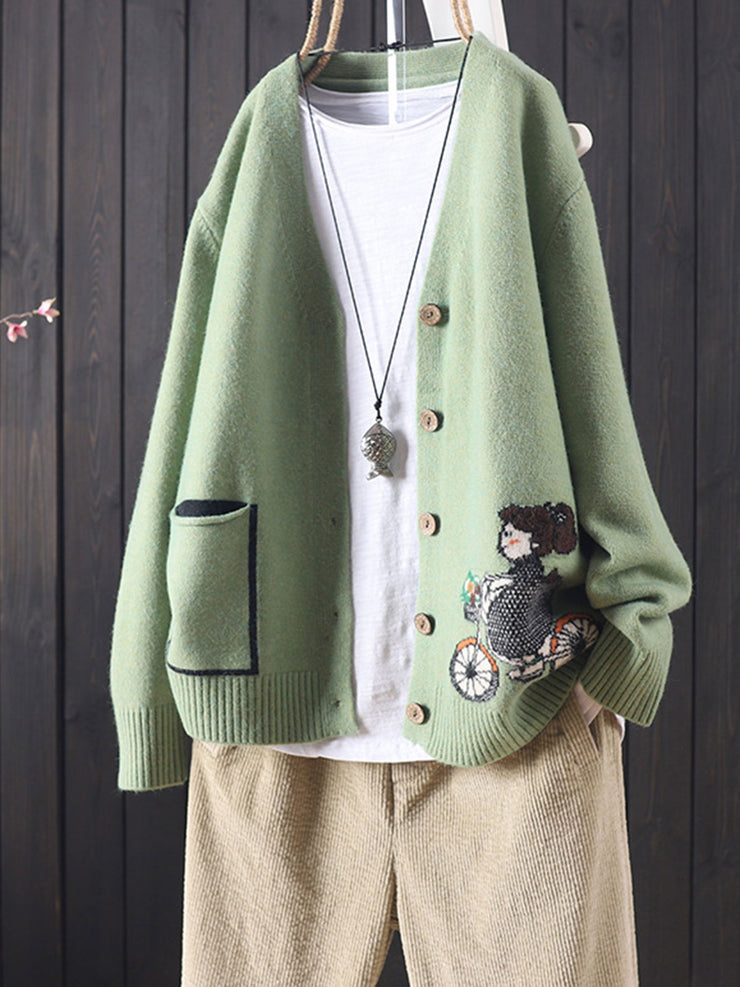 Ethnic V-Neck Cartoon Embroidery Winter Loose Single-Breasted Cardigan