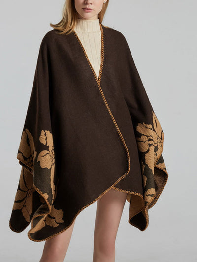 Mid-Length Fall Flower Jacquard Cape Cashmere Scarf