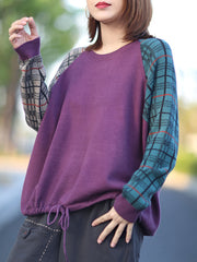 Round Neck Loose Pullover Plaid Korean Lace-Up Cotton Sweater