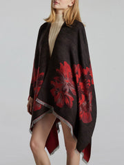Reversible Cape Flowers Jacquard Fleece Spring Winter Scarf