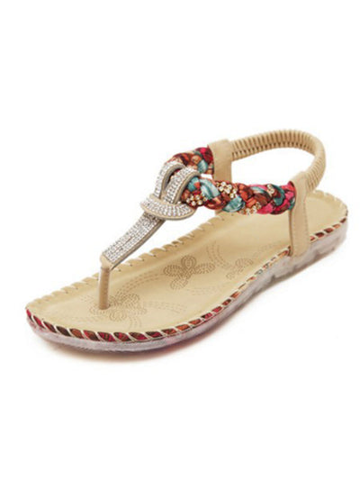 Elastic Rhinestone Summer Folk Style Beach Flat Heel Slippers Sandals