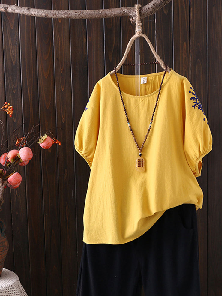 Summer Round Neck Embroidery Vintage Short Sleeve T-Shirt
