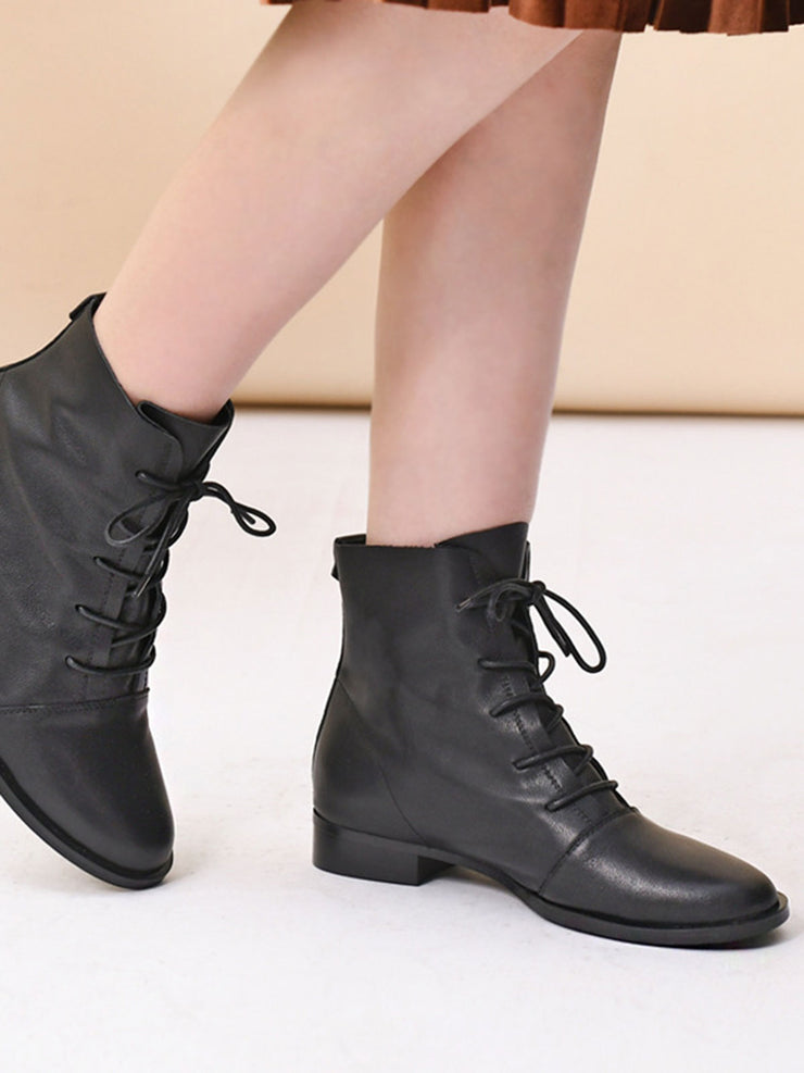 Chunky Heel British Flat Heel Lace-Up Front Ankle Fall Boots
