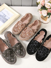 Round Toe Flower Flat Heel Casual Spring Glueing Flats