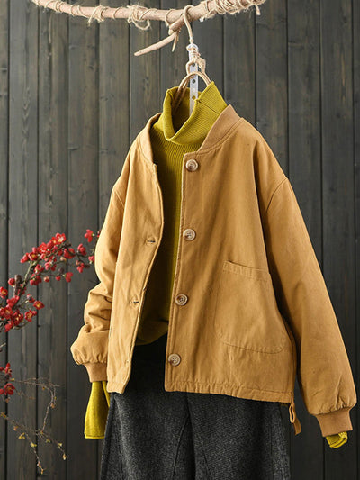 Winter Round Neck Short Single-Breasted Loose Cotton Coat
