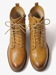 Women's Chunky Heel British Style Lace-Up Martin Boots