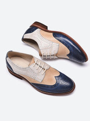 Vintage Wingtips Patchwork Hollow Round Toe Lace-Up Ankle Brogues
