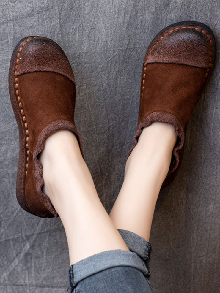 Casual Spring Fall Low Heel Round Toe Daily Leather Flats