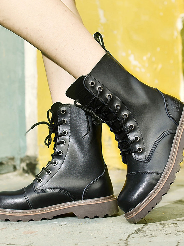 Lace-Up Front British Plain Leather Martens Boots