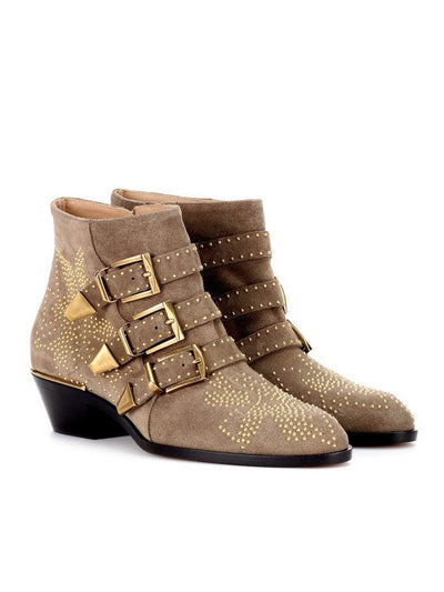 Folk Style Buckle Rivets Side Zipper Mid-Heel Winter Boots