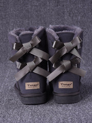 Winter Fleece Bowtie Flat Heel Round Toe Leather Snow Boots