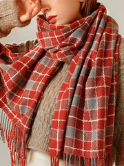 Japanese Fall Winter Plaid Tassel Cashmere Scarf