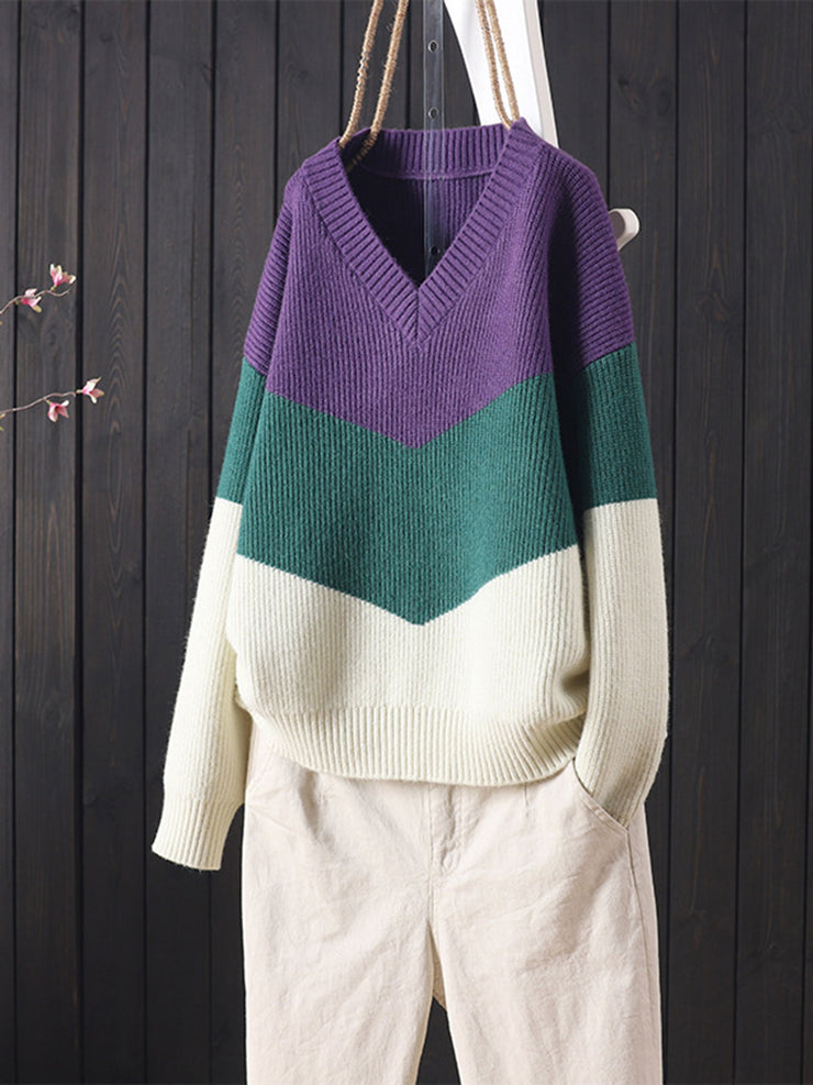 Turtleneck Pullover Geometric Patchwork Color Block Winter Sweater