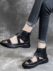 Hollow Cross Strap Chunky Heel Casual Summer Plain Leather Sandals
