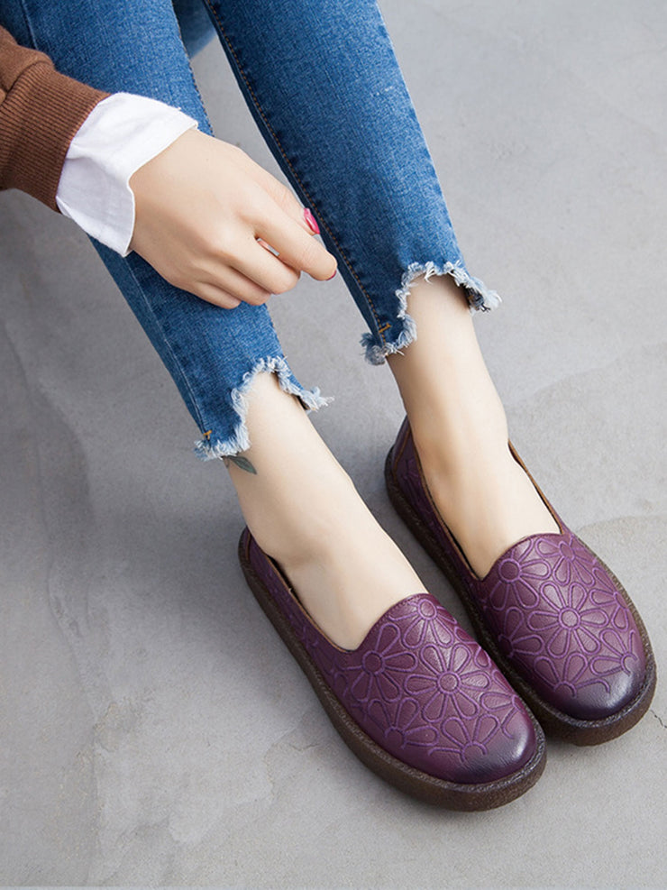 Spring Flower Round Toe Casual Low Heel Leather Flats