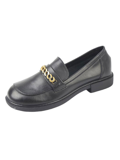 Spring Fall Chunky Heel British Slip-On Leather Loafers