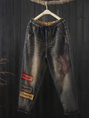 Vintage Embroidery Fall Winter Thick Denim Harem Jeans