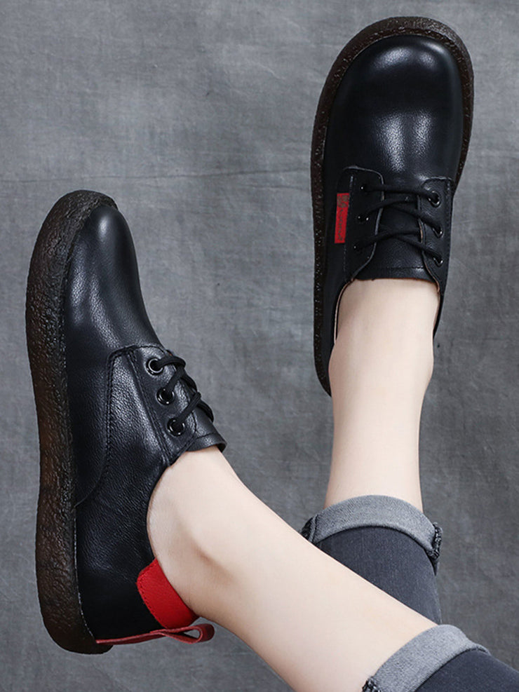 Spring Casual Round Toe Lace-Up Front Flat Heel Leather Sneakers