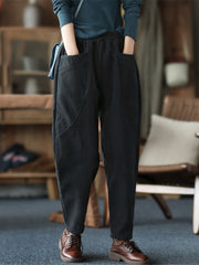 Vintage Winter Patchwork Harem Loose Fleece Cotton Pants