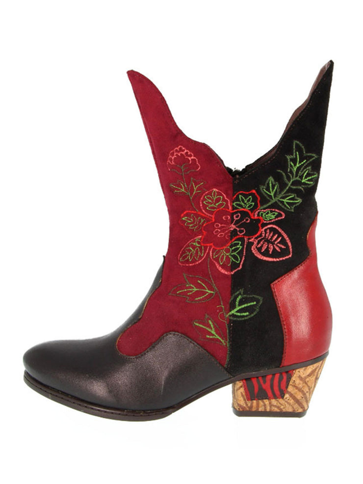 Embossed Flower Color Block Square Heel Martens Boots