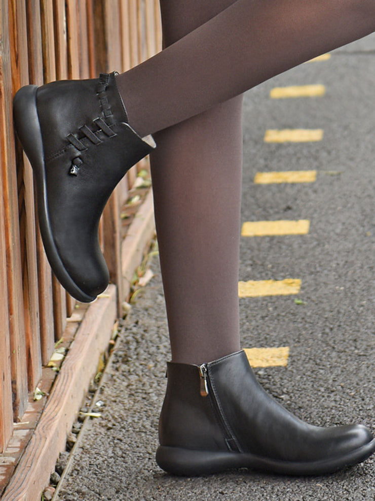 Side Zipper Round Toe Ankle Low Heel British Leather Boots