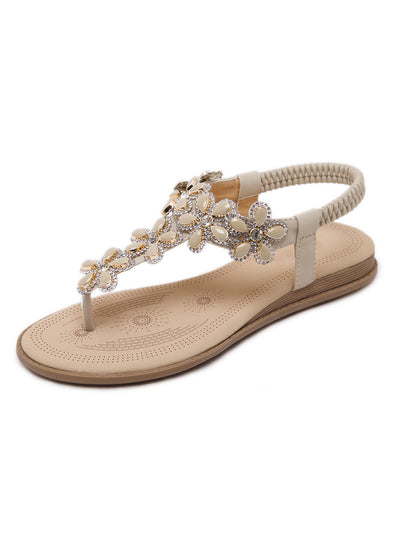 Summer Euro-American Open Toe Pinch Elastic Rhinestone Flower Sandals