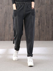 Ethnic Embroidery Fleece Thick Winter Harem Pants