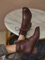 Vintage British Martens Fleece Brush Off Leather Lace-Up Front Boots