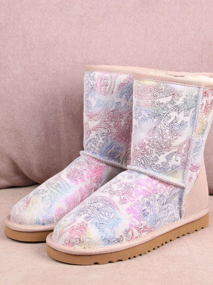 Winter Flower Printed Slip-On Casual Flat Heel Leather Snow Boots