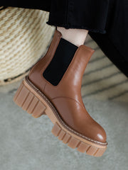 Flat Heel Ankle British Leather Platform Round Toe Boots