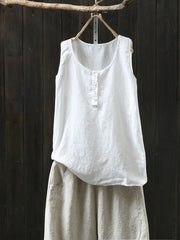 V-Neck Loose Cotton Summer Sleeveless Plain Thin Tank Top
