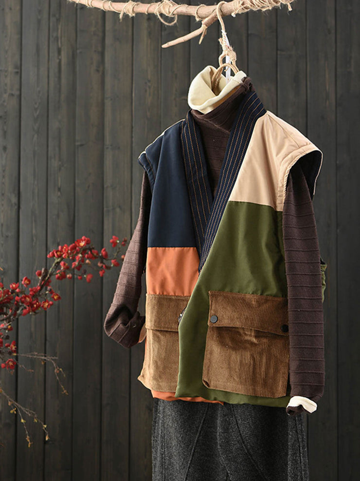 Color Block One Button Vintage Pocket V-Neck Cotton Vest