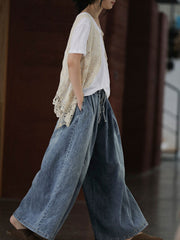 Pocket Lace-Up Loose Wide Legs Cotton Jeans
