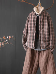 Winter Fleece Stand Collar Vintage Plaid Worn Cotton Coat