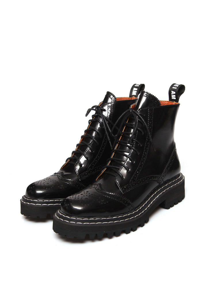 Carved Mid-Heel Round Toe Euro-American Casual Leather Boots