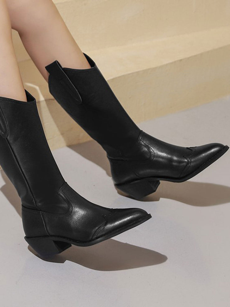 Vintage Mid-Heel Slip-On Pointed Toe Leather Riding Boots
