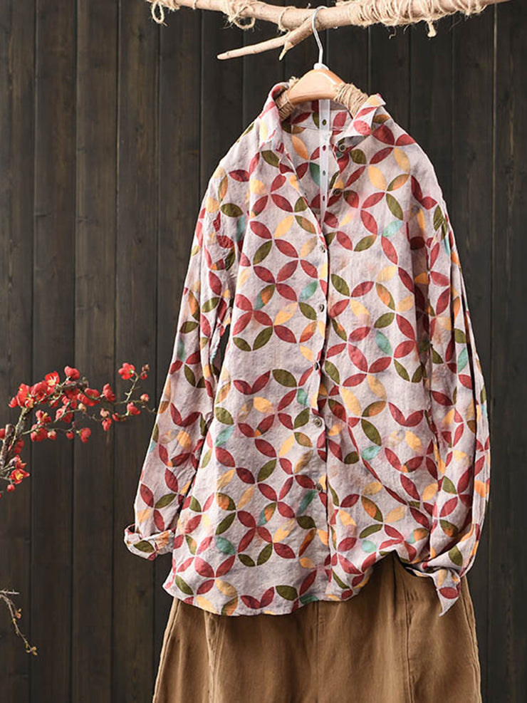 Stand Collar Geometric Print Vintage Spring Loose Thin Blouse