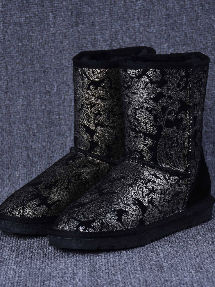 Thick Fleece Printed Flat Heel Mid-Calf Casual Winter Snow Boots