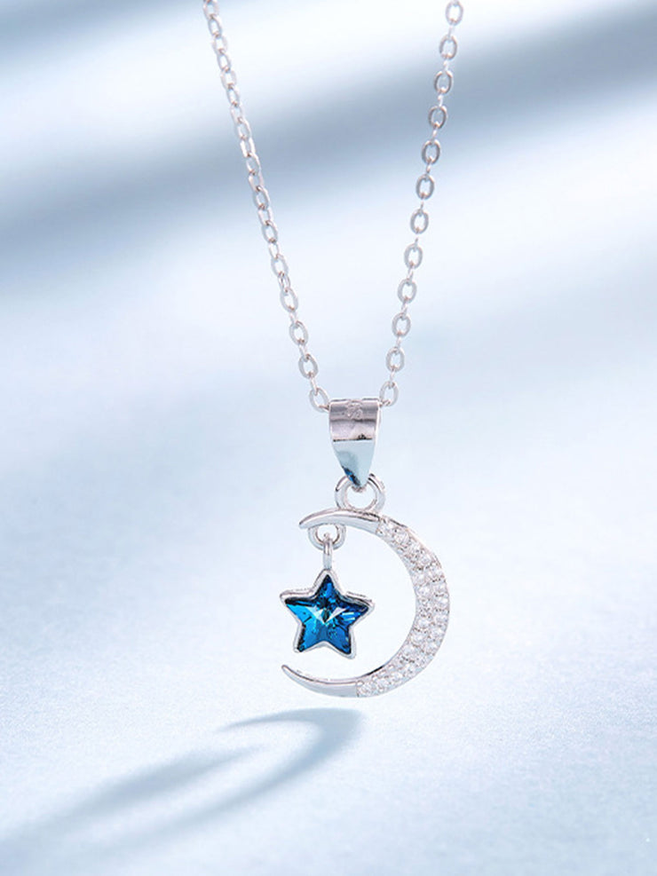 Star Moon Crystal Sterling Silver Love Necklace