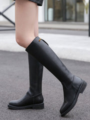 Unisex Buckle Back Zip Knee-High Leather Riding Boots