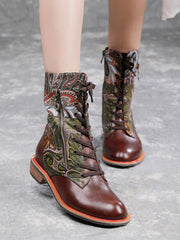 Euro-American Chunky Heel Lace-Up Front Leather Boots