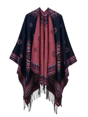 Fall Winter Jacquard Tassel Mid-Length Cashmere Scarf