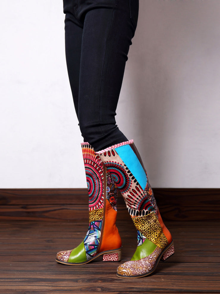 Winter Color Block Gradient Fleece Leather Fashion Boots