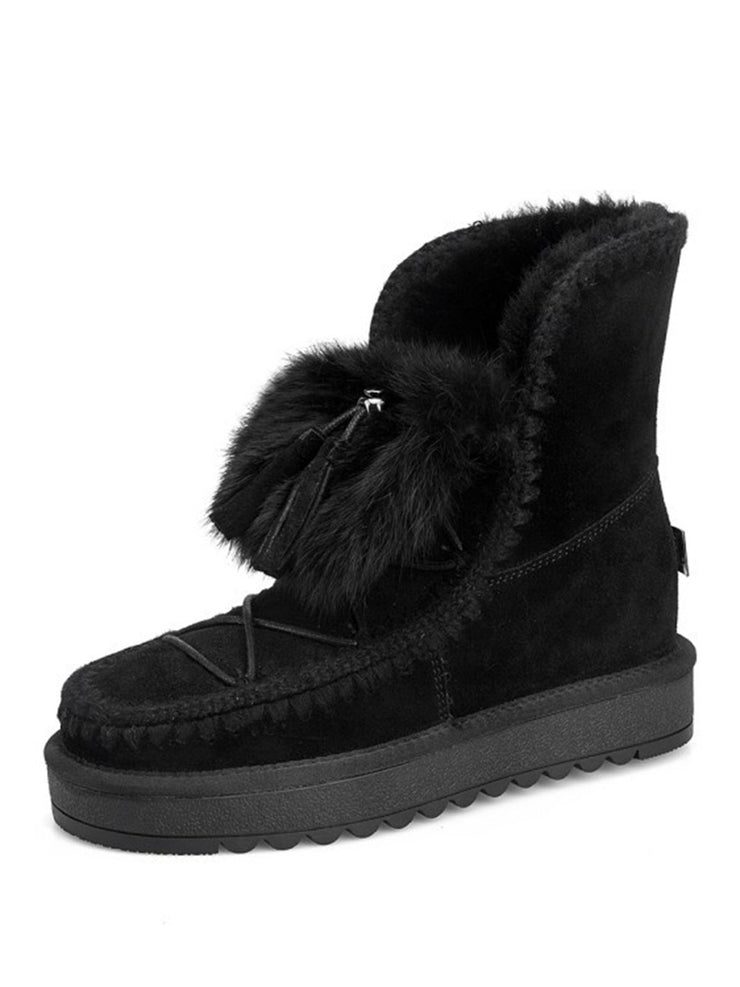 Winter Slip-On Chunky Heel Leather Snow Boots