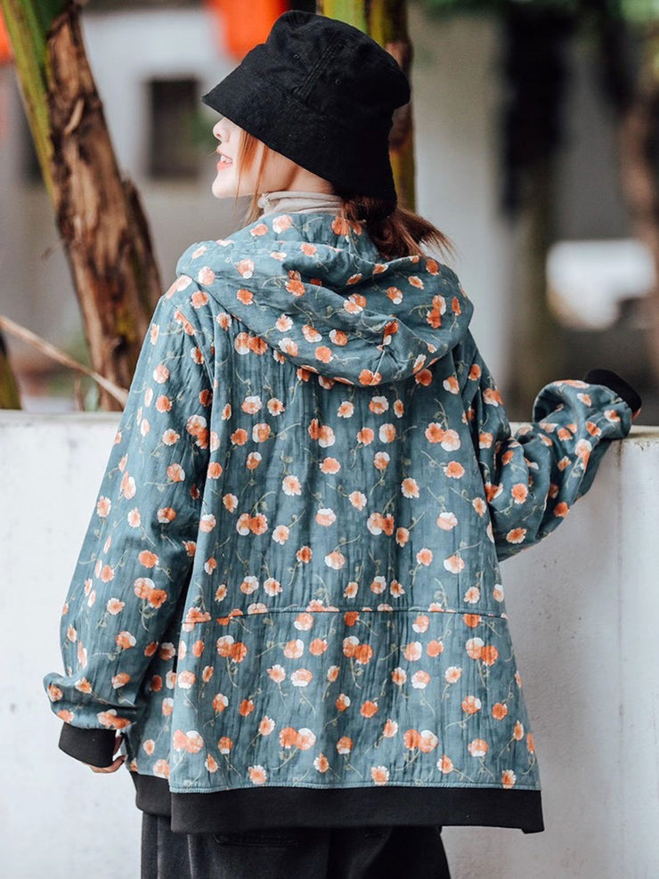 Fall Ethnic Hooded Lace-Up Button Print Loose Cotton Coat