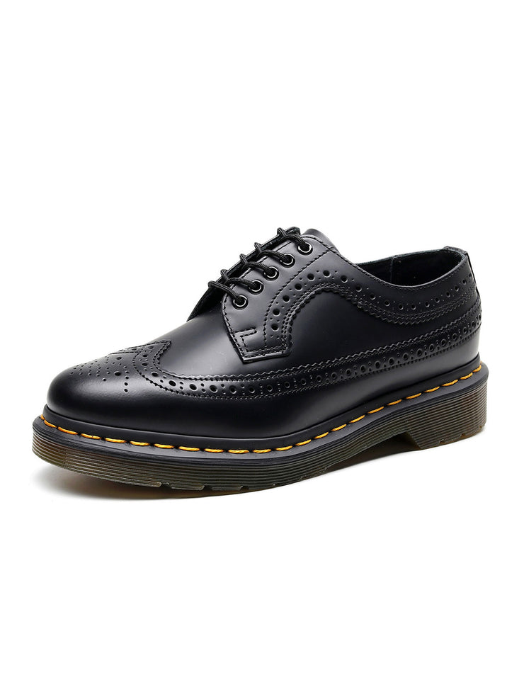 Hollow Round Toe Casual Flat Heel Leather Fall Brogues