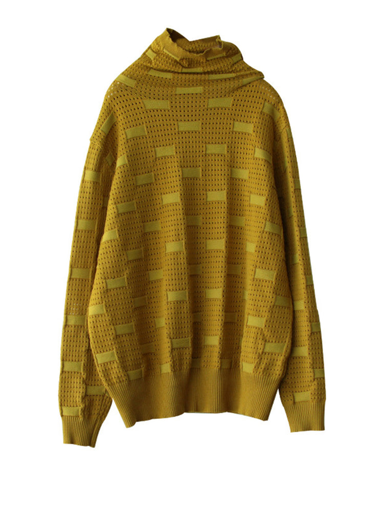 Fall Pullover Vintage Print Turtleneck Loose Cotton Sweater