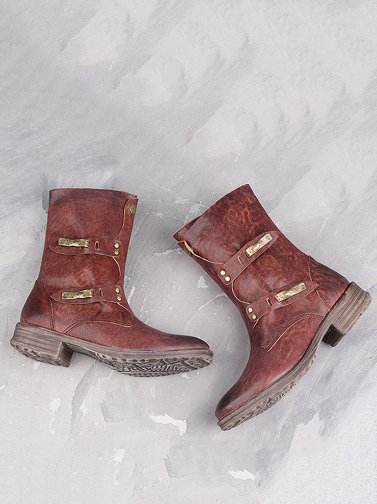 Vintage Fall Winter Side Zipper Brush Off Leather Motorcycle Boots