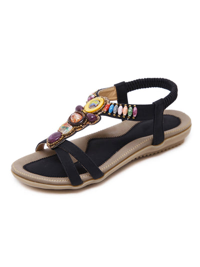 Summer Folk Style Beach Beads Elastic Round Toe Sandals
