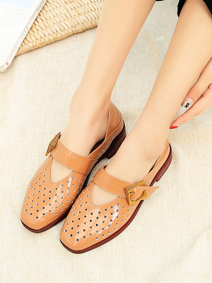 Summer Spring Chunky Heel Sweet Hollow Leather Sandals